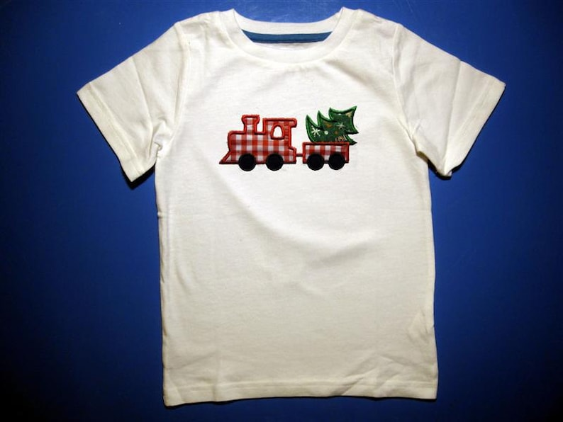 Embroidery and Appliqued Boys Christmas Tree Train Baby One image 0