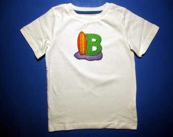 Baby one piece or  toddler tshirt - Embroidery and appliqued beach alphabet