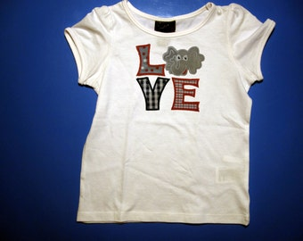 Baby one piece or toddler tshirt - Embroidery and appliqued  Alabama Elephant Love