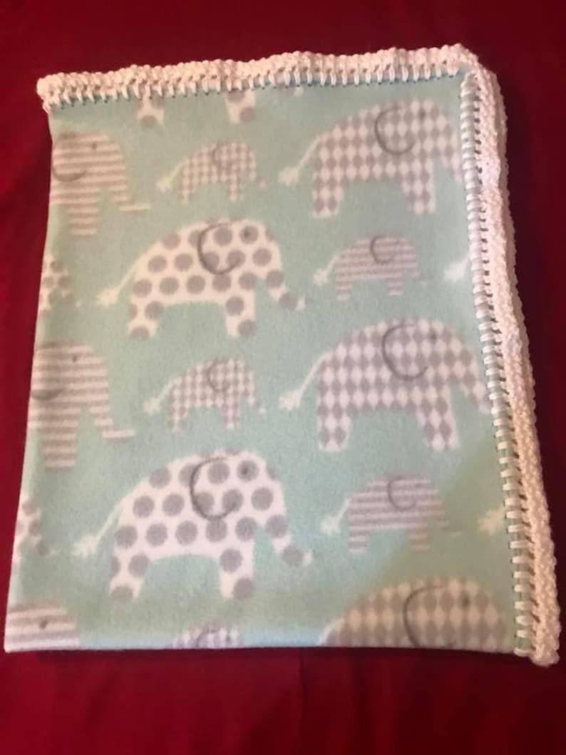 Elephant fleece blanket Baby blanket crochet edge blanket image 0