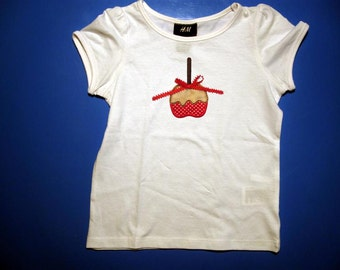 Baby one piece or toddler tshirt - Embroidery and appliqued  girls candy apple