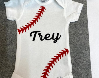 Personalized baseball body suit, monogram one piece, baseball, sports fan, personalized shirt,