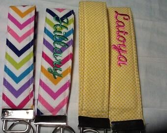 Personalized keyfob - embroidered keyfob - Key Fob - Key Chain -  Fabric Key Fob -  Wrist Lanyard- Key Fob Wristlet - Key Fob Keychain