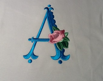 Baby one piece or toddler tshirt - Embroidery and appliqued Girls monogrammed initial