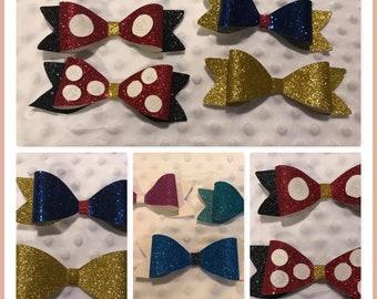 Glitter Princess Bows - Toddler bows-Girls Bows- Hair bows- Glitter Bow- Princess bows - Disney inspired bows