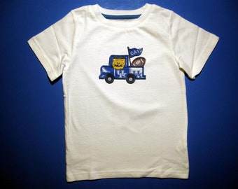 Baby one piece or toddler tshirt - Embroidery and appliqued wildcat football team truck