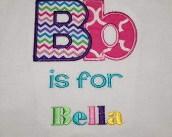 Baby one piece or  toddler tshirt - Embroidery and appliqued alphabet.  A is for alphabet