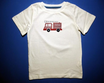 Baby one piece or toddlers tshirt. - Embroidery and appliqued boys ladder firetruck