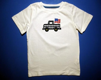 Baby one piece or  toddlers tshirt. - Embroidery and appliqued American flag in a truck