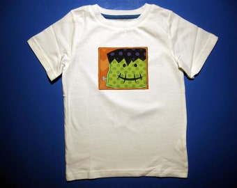 Baby one piece or toddler tshirt - Embroidery and appliqued Halloween boys frankenstein in a box