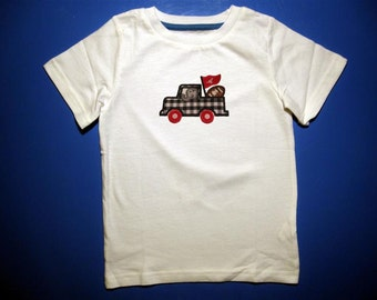 Baby one piece or toddler tshirt - Embroidery and appliqued alabama football team truck