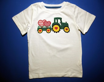 Toddler or Youth  tshirt - Embroidery and appliqued Valentine Tractor & Wagon with Heart