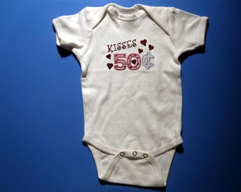Baby one piece or  toddler tshirt - Embroidery and appliqued 50 cent kisses