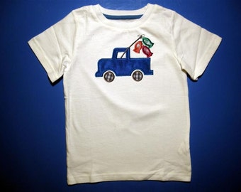 Baby one piece or  toddlers tshirt. - Embroidery and appliqued boys summer fish in a truck