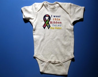 Baby one piece or  toddler tshirt - Embroidery and appliqued autism ribbon