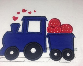 Baby one piece or toddler tshirt - Embroidery and appliqued Valentine Train with Heart,  Train , Heart, Valentines Day