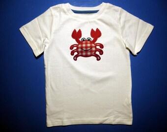 Crab t-shirt, boys or girls crab shirt, red gingham crab shirt, beach shirt crab one piece body suit, personalized crab shirt. monogram crab