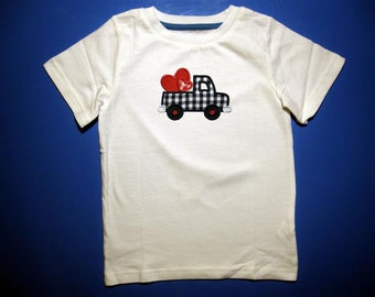 Baby one piece or toddler tshirt - Embroidery and appliqued boys valentine hearts in truck