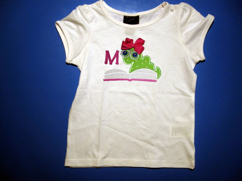 Embroidery and Appliqued book worm with initial youth t-shirt image 0