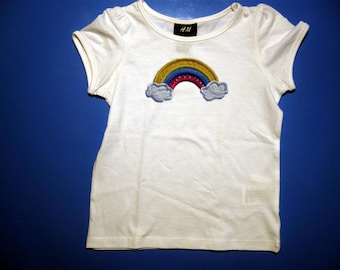 Baby one piece or  toddler tshirt - Embroidery and appliqued girls rainbow
