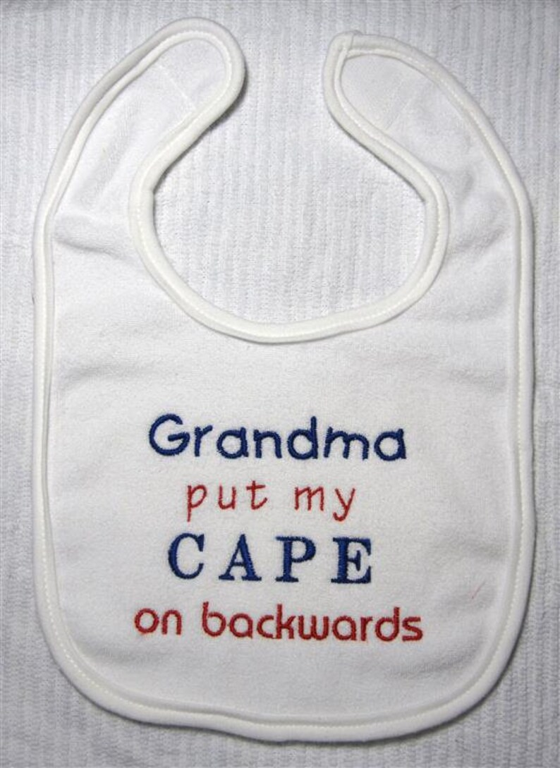 Baby Bib  Embroidery and appliqued cape on backwards image 0
