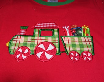 Embroidery and Appliqued Boys Christmas Presents Train Baby One piece or Toddler T-shirt