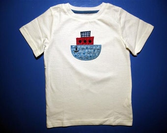 Embroidery and Appliqued Boys  Tug boat Baby one piece or  Toddler T-shirt