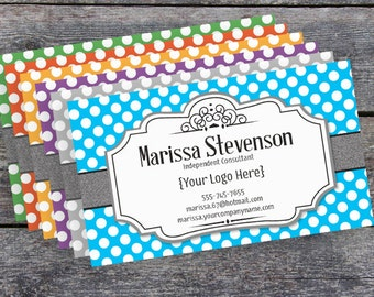 Direct Sales Business Card - Printable - Digital - Polka Dot Elegant Pattern