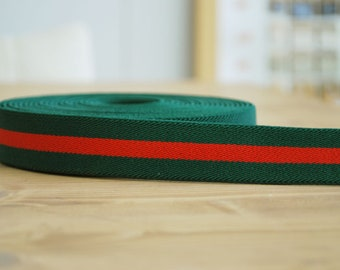 5 YDs x 25mm Single Face  Forest Green and Red Stripe  Elastic Band, Soft Waistband Elastic, Elastic Trim, Sewing Elastic, Suspenders