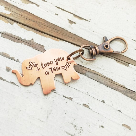 Hand stamped I Love You A Ton Keychain elephant keyring copper  4254cf691