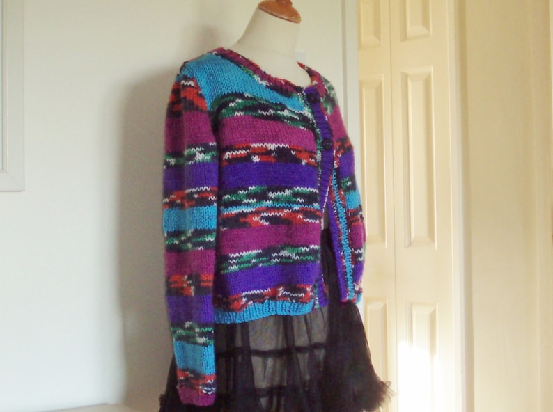 Unique hand knitted cardiganjacket in chunky yarn UK 12 14 US 10 12 pretty colours