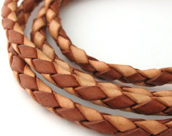 6 mm Luggage-Chocolate Round Braided Bolo Faux Leather Cord QUANTITY DISCOUNTS; 4yds 6yds