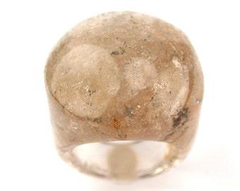 RI01021002) Smoky Agate Dome Ring
