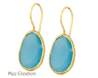 EE9020010) Blue Chalcedony Earrings, Blue Chalcedony Faceted Earrings, Blue Earrings, Chalcedony Earrings, Blue Chalcedony Drop Earrings