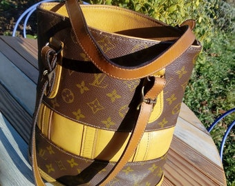 2579ca69f645 Authentic LOUIS VUITTON Monogram Bucket Bag   70s Small Bucket bag   LV  Handbag or Shoulder Bag   Vintage Bucket bag