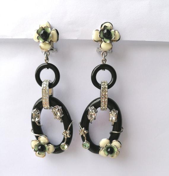 Vintage PRADA Drop Earrings   Flower Dangling Ear… - image 1