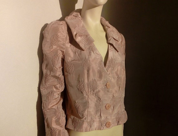 90s Armani Short Jacket in Pale Pink Silk  Evening