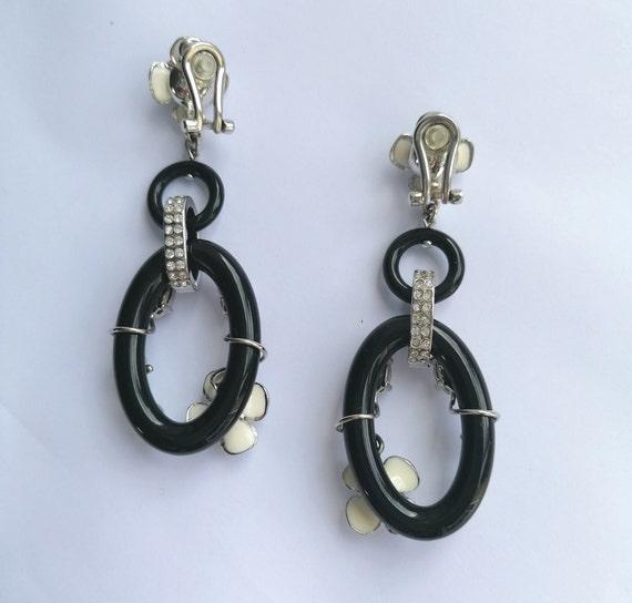 Vintage PRADA Drop Earrings   Flower Dangling Ear… - image 8