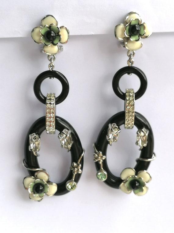Vintage PRADA Drop Earrings   Flower Dangling Ear… - image 7