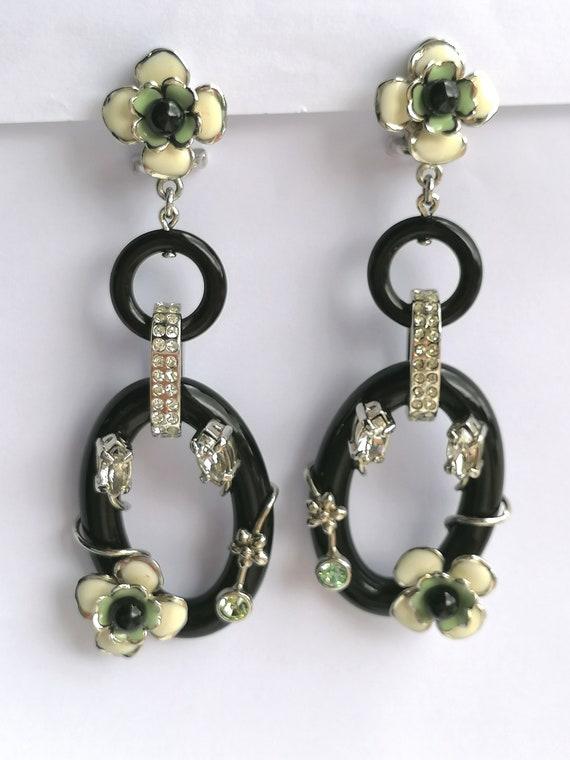 Vintage PRADA Drop Earrings   Flower Dangling Ear… - image 2