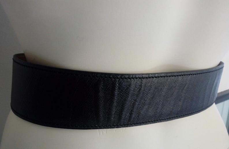 90s   Wide Black Leather Belt ALA\u00cfA   Vintage Gold Buckle Belt  Pleated Look