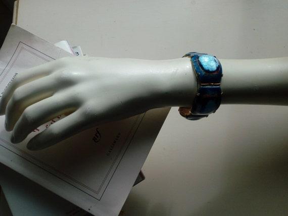 Gold Glitter Edges Vintage Wide Slip on Bangle Bracelet with Bold Black White and Cobalt Blue Floral Design Iris Designs or Similar