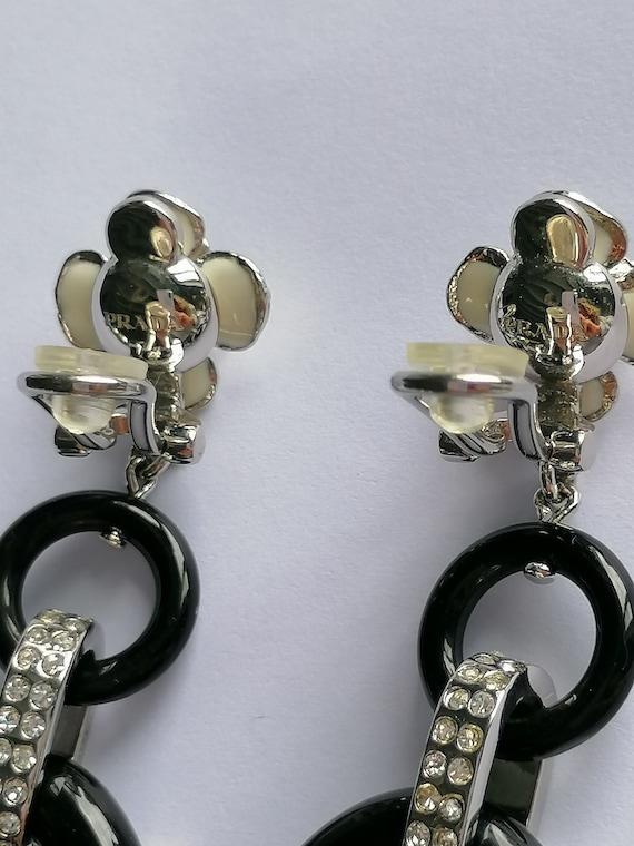 Vintage PRADA Drop Earrings   Flower Dangling Ear… - image 5
