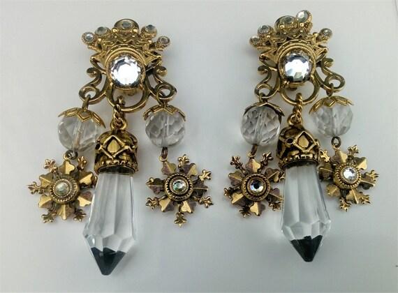 Vintage 1980/'s Costume Reminiscence Paris Glass Bead Clip On Dangle Earrings