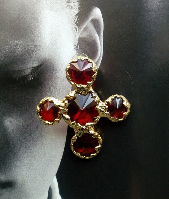 Vintage CHRISTIAN LACROIX Cross Earrings   Red and