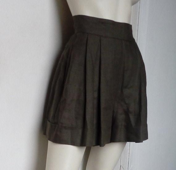 Vintage CLAUDE MONTANA Linen Bermuda Shorts  Green