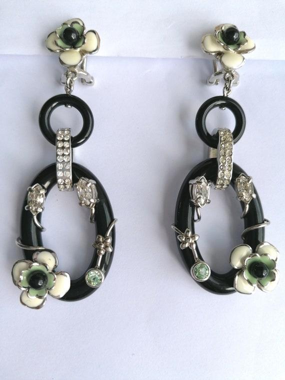 Vintage PRADA Drop Earrings   Flower Dangling Ear… - image 10