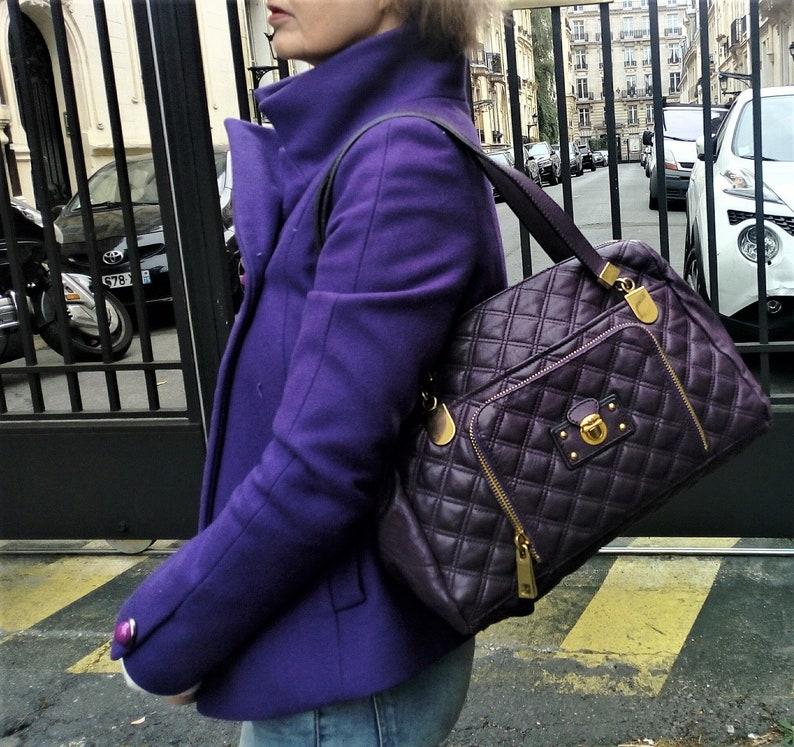 b7f81d7f4e Vintage Quilted Tote Bag Marc Jacobs / Purple Shoulder Bag / | Etsy