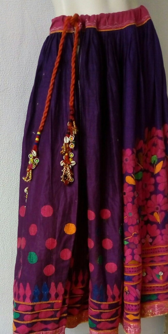 Vintage Ethnic Embroidered Skirt   Summer Purple s