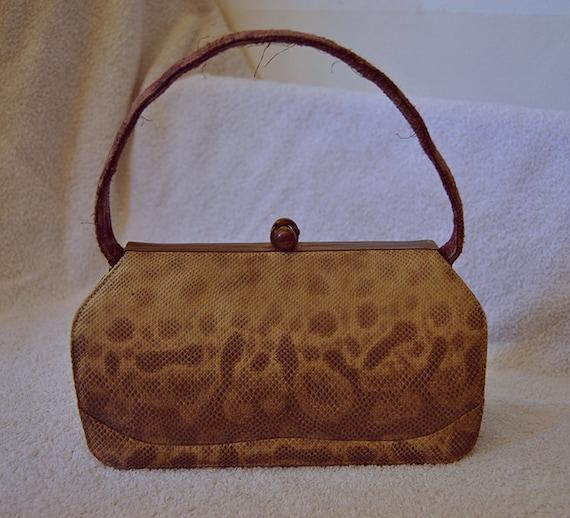 30s Exotic Leather Bag  Vintage Iguana and Brocard